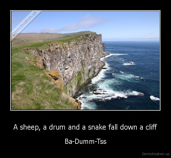 A sheep, a drum and a snake fall down a cliff