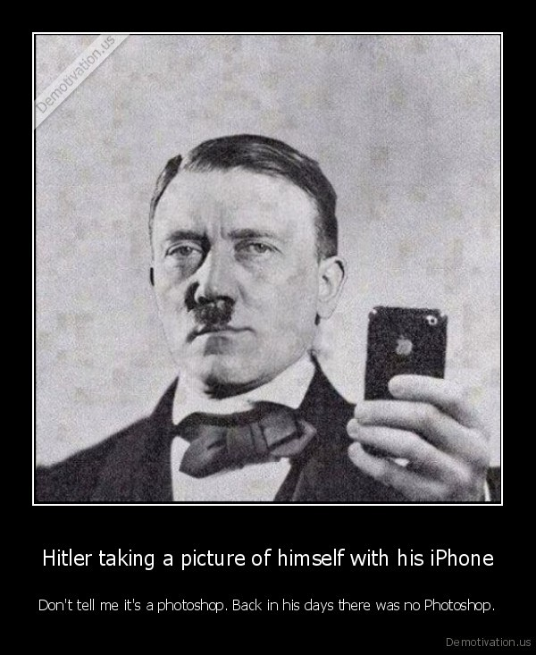 Hitler taking a picture of himself with his iPhone