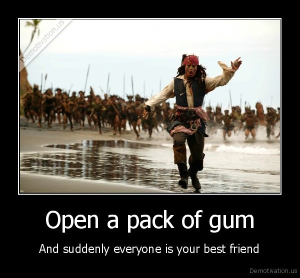 Open a pack of gum