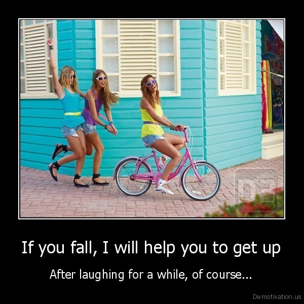 laugh at friend falling help up