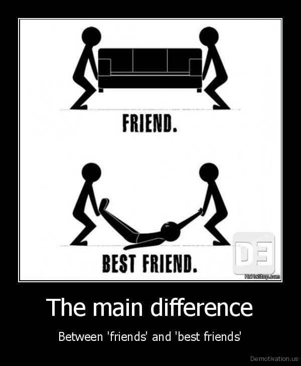 The main difference - Between 'friends' and 'best friends'