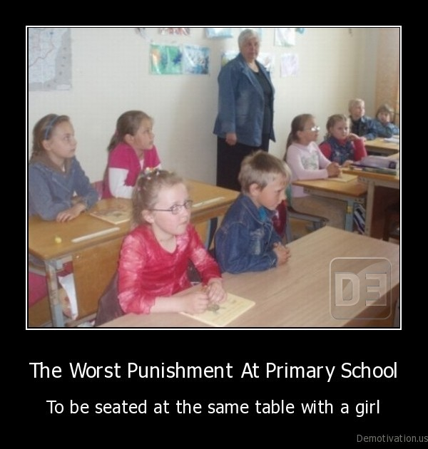primary, school,punishment,table,girl,sit