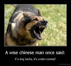 A wise chinese man once said: - if a dog barks, it's under-cooked!