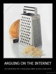 ARGUING ON THE INTERNET - Like masturbating with a cheese grater, slightly amusing, mostly painful