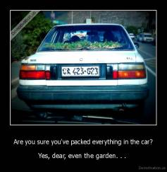 Are you sure you've packed everything in the car? - Yes, dear, even the garden. . .