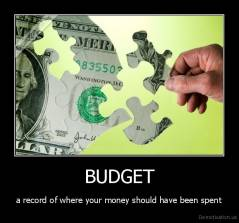 BUDGET - a record of where your money should have been spent