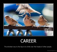 CAREER - The shortest way to the top is to climb over the heads of other people.