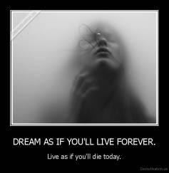 DREAM AS IF YOU'LL LIVE FOREVER. - Live as if you'll die today.