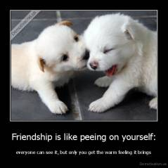 Friendship is like peeing on yourself: - everyone can see it, but only you get the warm feeling it brings