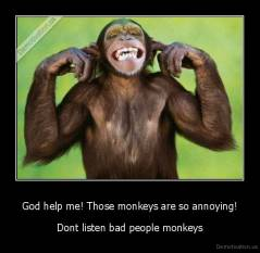 God help me! Those monkeys are so annoying! - Dont listen bad people monkeys