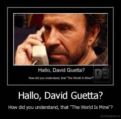"Hallo, David Guetta? - How did you understand, that ""The World Is Mine""?"