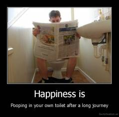 Happiness is - Pooping in your own toilet after a long journey