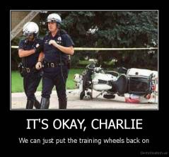 IT'S OKAY, CHARLIE - We can just put the training wheels back on