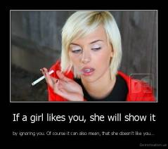 If a girl likes you, she will show it | Demotivation us