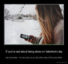 If you're sad about being alone on Valentine's day - Just remember - no one loves you on the other days of the year either