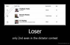 Loser - only 2nd even in the dictator contest