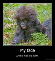 My face - When I miss the alarm.