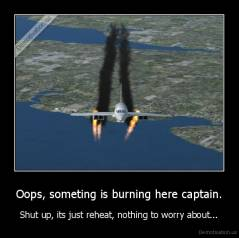 Oops, someting is burning here captain. - Shut up, its just reheat, nothing to worry about...