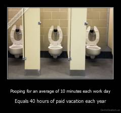 Pooping for an average of 10 minutes each work day - Equals 40 hours of paid vacation each year