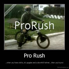 Pro Rush - ...when you have a bike, ski goggles and a downhill helmet....then you're pro!