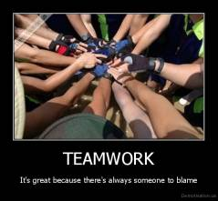 TEAMWORK - It's great because there's always someone to blame