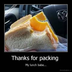 Thanks for packing  - My lunch babe...