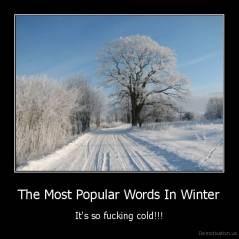 The Most Popular Words In Winter - It's so fucking cold!!!