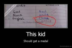 This kid - Should get a medal