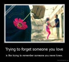 Trying to forget someone you love - is like trying to remember someone you never knew.