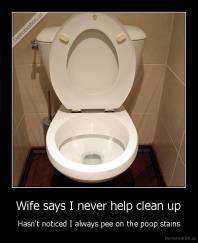 Wife says I never help clean up - Hasn't noticed I always pee on the poop stains