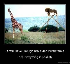 If You Have Enough Brain And Persistence - Then everything is possible