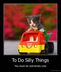 To Do Silly Things - You must be extremely cute