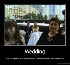 Wedding - The Bridesmaid was worried that someone would notice her nose