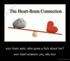 your brain asks: who gives a fuck about her? - your heart answers: you, silly boy!