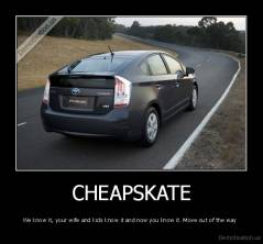 CHEAPSKATE - We know it, your wife and kids know it and now you know it. Move out of the way