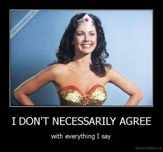 I DON'T NECESSARILY AGREE - with everything I say