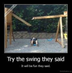 Try the swing they said - It will be fun they said.