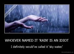 WHOEVER NAMED IT 'RAIN' IS AN IDIOT - I definitely would've called it 'sky water.'