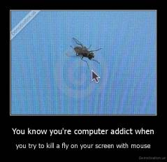 You know you're computer addict when - you try to kill a fly on your screen with mouse